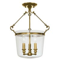 Hudson Valley Quinton 3-light Semi Flush, Aged Brass