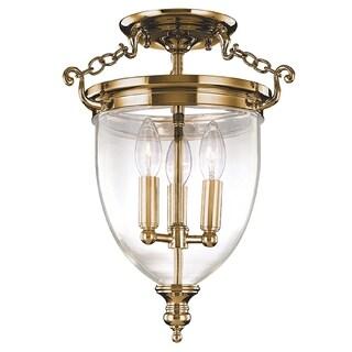 Hudson Valley Hanover 3-light Semi Flush, Aged Brass