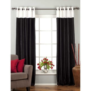Signature Ring Top Black and White designer Velvet Curtain Panel (India)