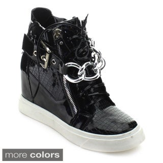 Nature Breeze Frontrunner-01 Women's High Top Lace-up Zip Hidden Wedge Sneaker
