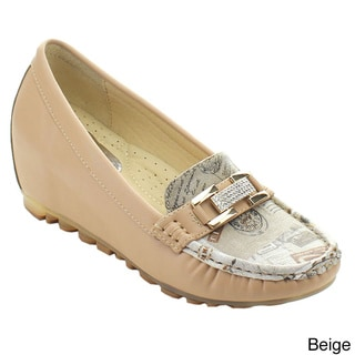 Nature Breeze Southbay-02 Women Rhinestone Printed Moccasin Slip On Wedge Loafer