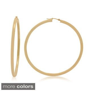 Gioelli 14k Gold High Polish 65mm Round Tube Hoop Earrings