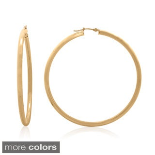 Gioelli 14k Gold High Polish 60mm Round Tube Hoop Earrings
