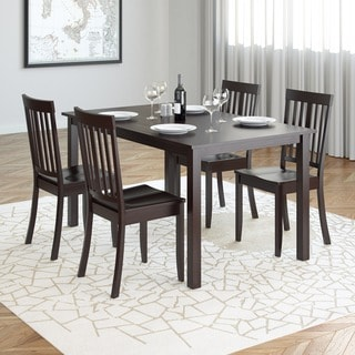 CorLiving DRG-795-Z5 Atwood 5-piece Dining Set with Cappuccino Stained Chairs