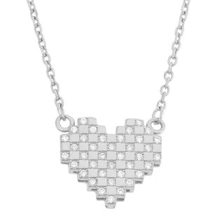 Gioelli Sterling Silver Checkerboard Cubic Zirconia Heart Necklace
