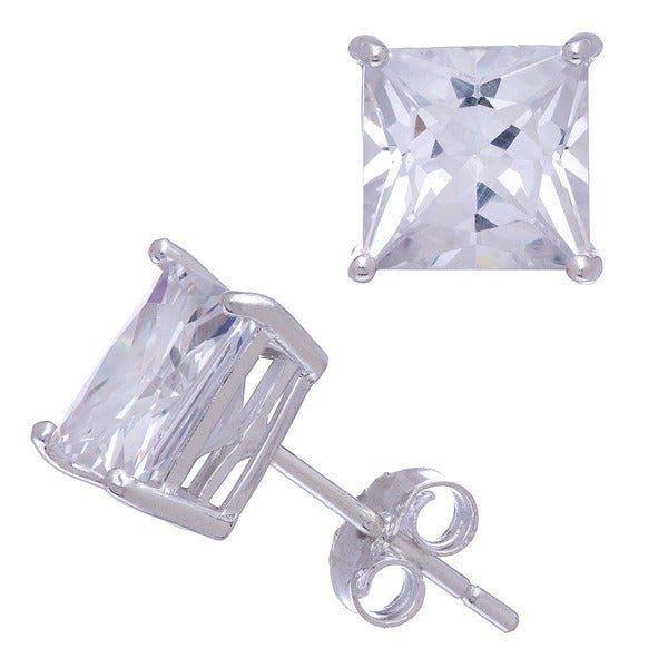 Gioelli Sterling Silver Princess Cut Cubic Zirconia Earrings