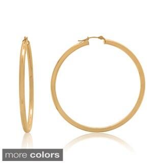 Gioelli 14k Gold High Polish 55mm Round Tube Hoop Earrings