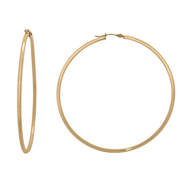 Gioelli 14k Gold High Polish 65mm Round Hoop Earrings