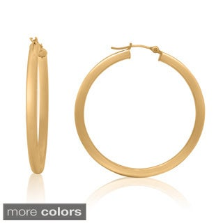 Gioelli 14k Gold High Polish 40mm Round Tube Hoop Earrings