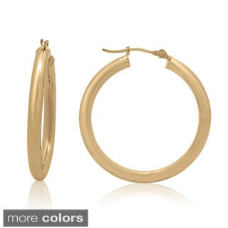 Gioelli 14k Gold High Polish 30mm Round Tube Hoop Earrings