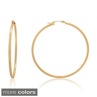 Gioelli 14k Gold High Polish 50mm Round Hoop Earrings