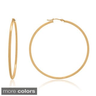 Gioelli 14k Gold High Polish 55mm Round Hoop Earrings