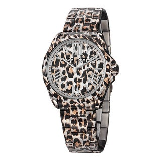 SO&CO New York Women's SoHo Stainless Steel Animal Print Bracelet Watch