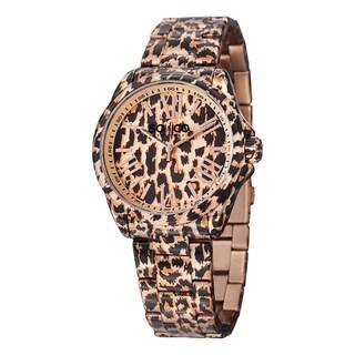 SO&CO New York Women's SoHo Quartz Stainless Steel Animal Print Bracelet Watch