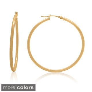 Gioelli 14k Gold High Polish 40mm Hoop Earrings