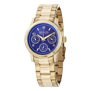 SO&CO New York Women's Madison Quartz Gold Tone Watch with Stainless Steel Bracelet|https://ak1.ostkcdn.com/images/products/10275451/P17391699.jpg?impolicy=medium