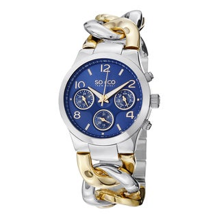 SO&CO New York Women's SoHo Quartz Two Tone Watch with Stainless Steel Chain