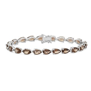Gioelli Sterling Silver 8x5 mm Pear-shaped Smoky Quartz Link Bracelet
