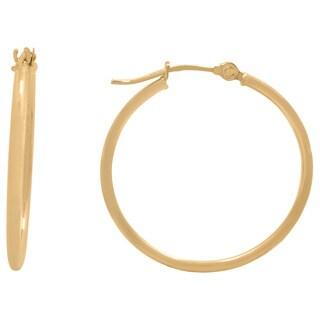Gioelli 14k Gold High Polish 25mm Round Hoop Earrings