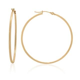 Gioelli 14k Gold High Polish 40mm Round Hoop Earrings