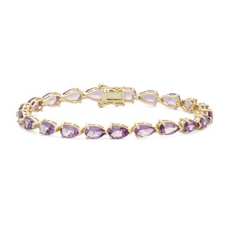 Gioelli Sterling Silver 8x5 mm Pear-shaped Amethyst Link Bracelet