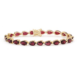 Gioelli Sterling Silver 8x5 mm Pear-shaped Garnet Link Bracelet