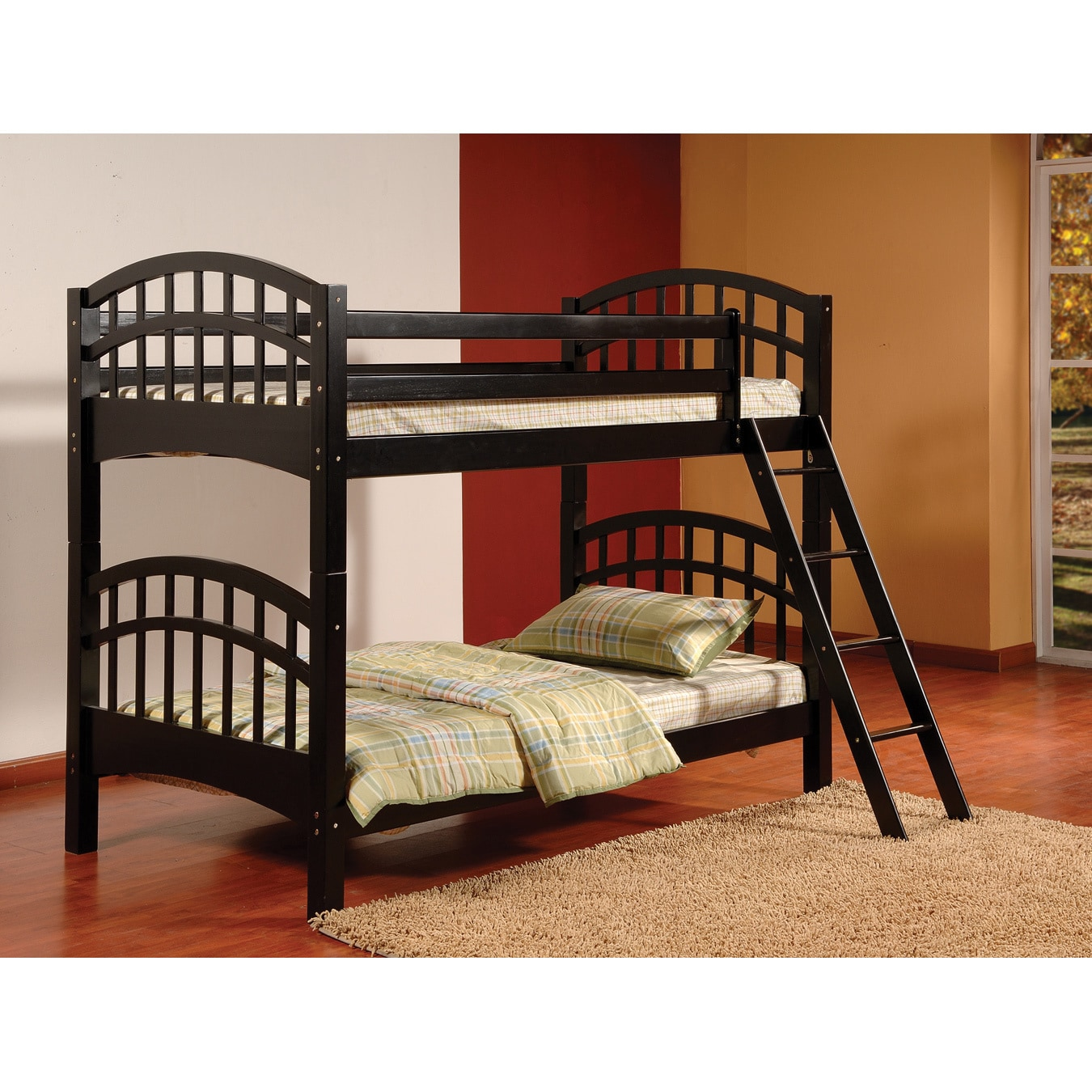 Twin/Twin Wood Bunk Bed with Arched Design (Black Finish)