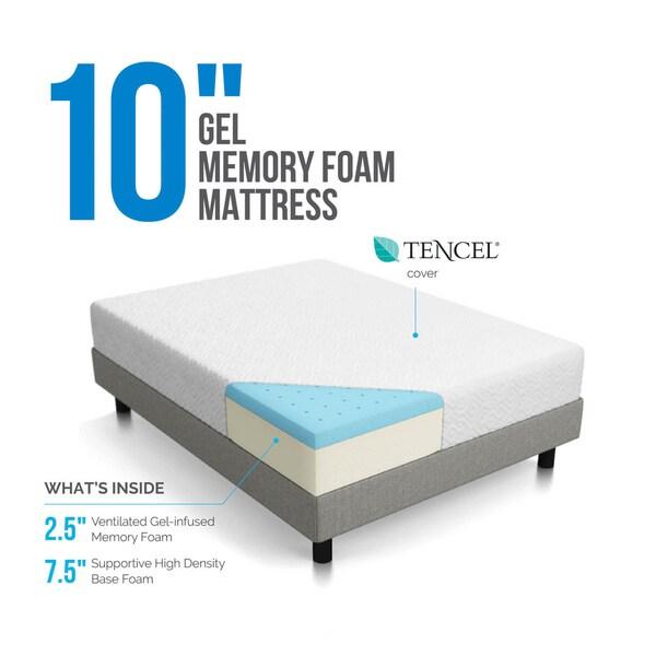 lucid 10inch twinsize gel memory foam mattress free shipping today