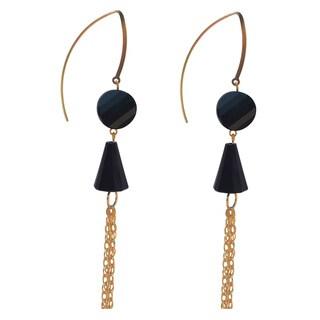 Handmade Crystal Jet Black Tassel Drop Earrings