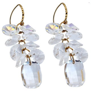 Handmade Bridal Crystal Clear Disc Cluster Drop Earrings