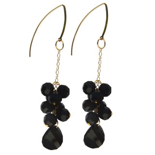 Handmade Gold-filled Crystal Jet Black Cluster Drop Earrings
