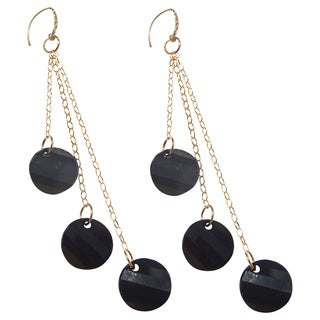 Handmade Gold-filled Crystal Jet Black Drop Earrings