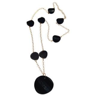 Handmade Gold-filled Jet Black Disc Necklace