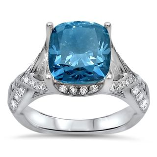 Noori 18k White Gold 3 3/5 TDW Blue Cushion-cut Diamond Engagement Ring (F-G, SI1-SI2)