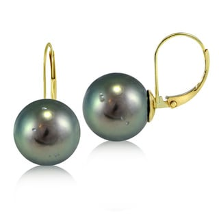 Glitzy Rocks 14k Yellow Gold Round Tahitian Cultured Pearl Leverback Earrings (11 mm)