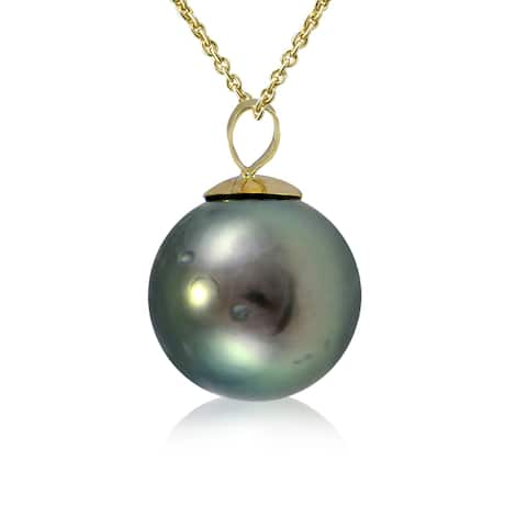 Glitzy Rocks 14K Yellow Gold Tahitian Cultured Pearl 12mm Necklace