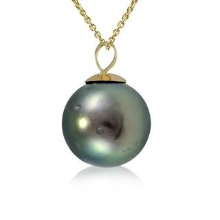 Glitzy Rocks 14K Yellow Gold Tahitian Cultured Pearl 12mm Necklace