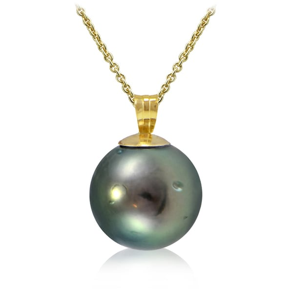 Glitzy Rocks 14K Yellow Gold Tahitian Cultured Pearl 11mm Necklace