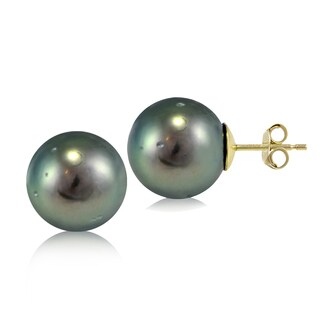 Glitzy Rocks 14K Yellow Gold Tahitian Cultured Pearl 11mm Stud Earrings