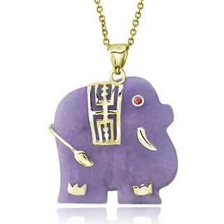 Glitzy Rocks 18k Gold over Sterling Silver Green or Lavender Jade Elephant Necklace