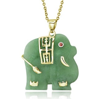 Glitzy Rocks 18k Gold over Sterling Silver Green or Lavender Jade Elephant Necklace
