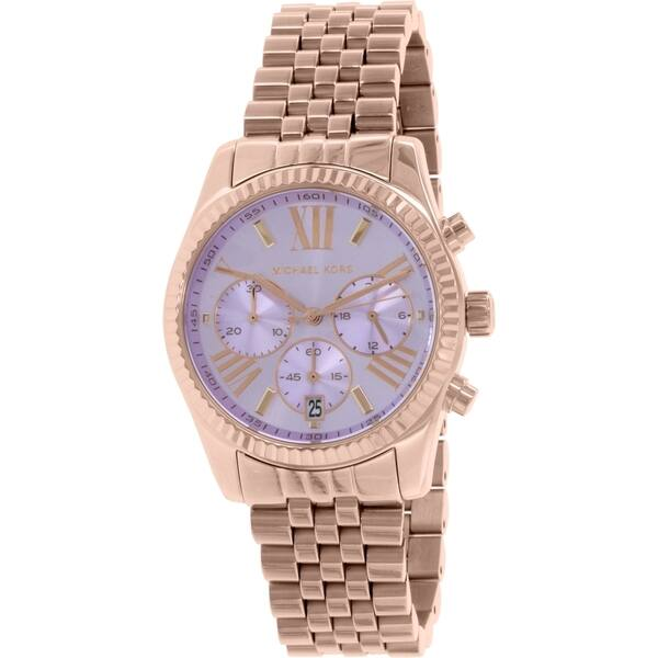 80367f665df6 Michael Kors Women s  Lexington  Chronograph Rose-Tone Stainless Steel Watch