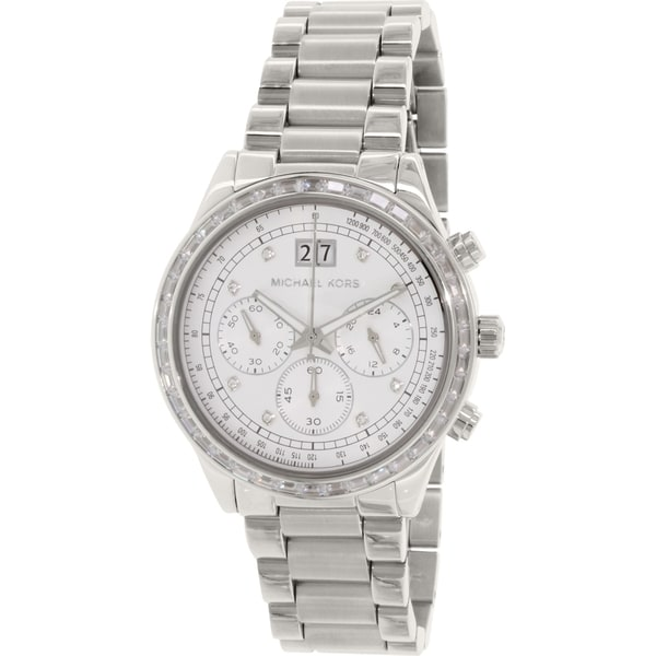 Michael Kors Women's MK6186 'Brinkley' Chronograph Crystal Stainless Steel Watch. Opens flyout.