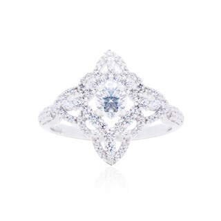 Blue Box Jewels Sterling Silver CZ Studded Flower Ring