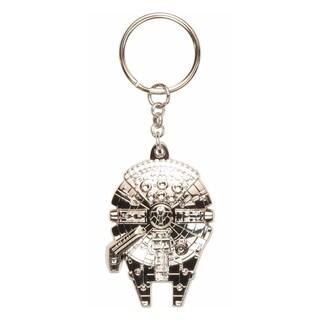 Star Wars Millennium Falcon Key Chain Silver Han Solo Chewbacca Keyring