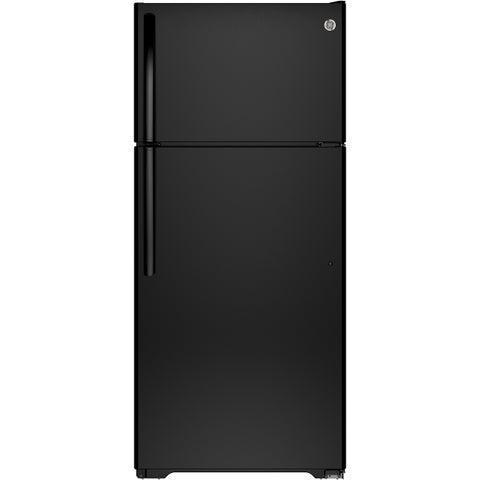 GE Energy Star 15.5 Cubic-foot Top Freezer Black Refrigerator