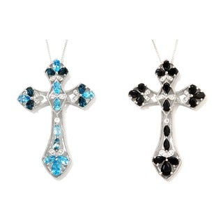 Sterling Silver Black Spinel or Blue Topaz Gothic Cross Necklace