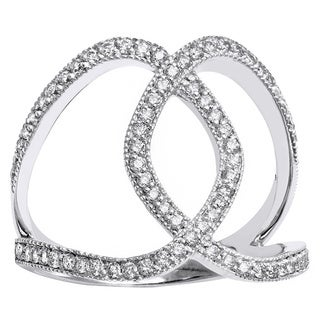 Beverly Hills Charm 10k White Gold 1/2ct TDW Diamond Free-form Fashion Ring