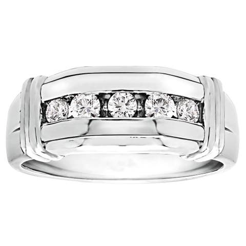 TwoBirch Sterling Silver Men's 1/3ct TGW Channel-set Moissanite Ring