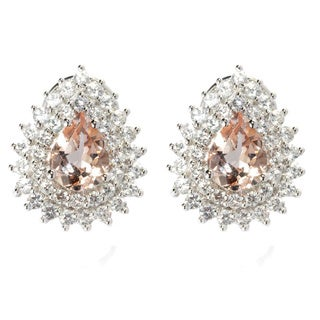 14k White Gold Pear-cut Morganite and White Zircon Omega Earrings